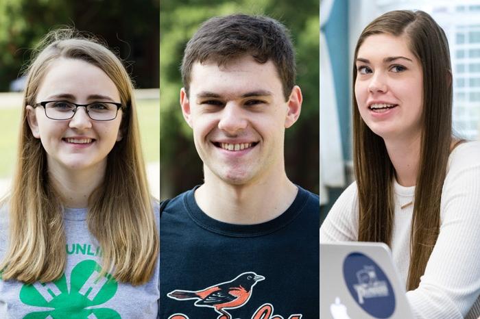 Headshots of Ashley Klopfenstein, Stephen True and Rachel George