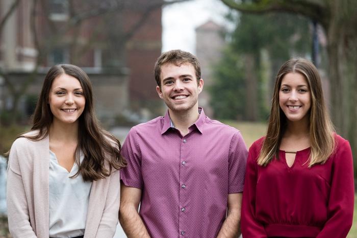 Marietta students Taryn Hicks, Alex Hogan and Abby Tornes on campus