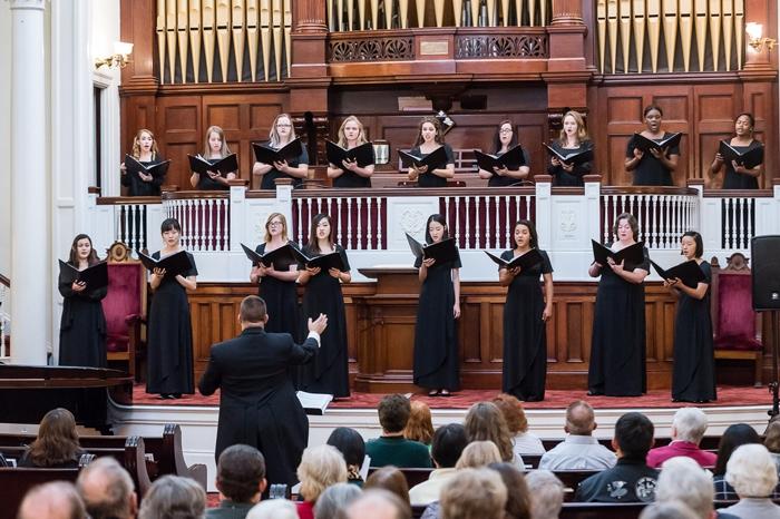 Choir performing at a church