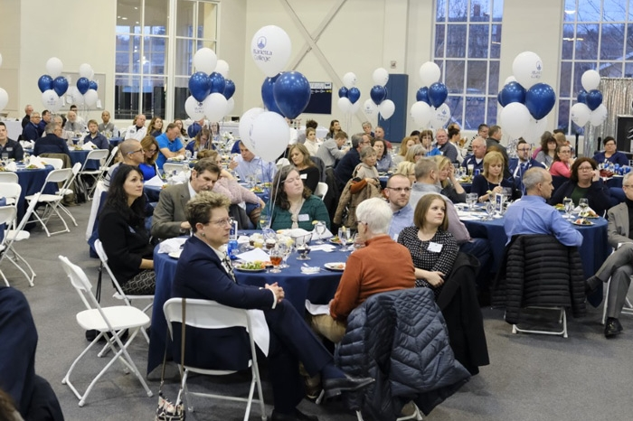 Marietta College employees sitting at tables during Founders Day 2020