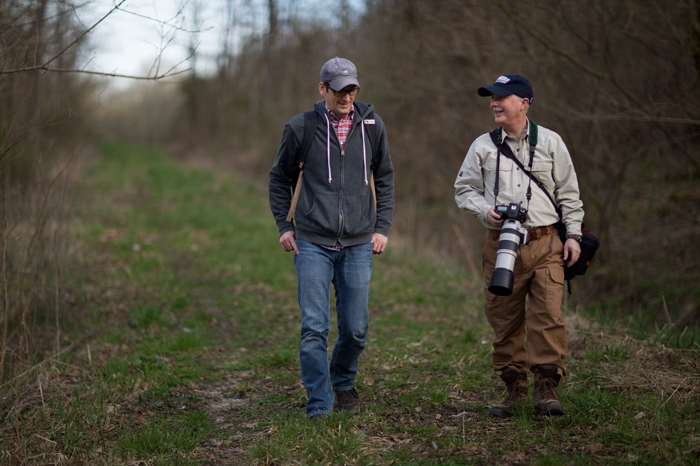 Dave McShaffrey at the Beiser Field Station with a student