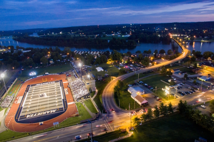 Night aerial photo of Don Drumm Stadium with the lights on