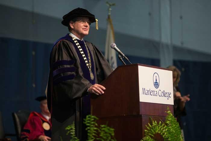 President Bill Ruud speaking at podium