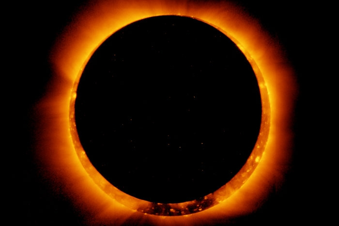 moon directly in front of the sun