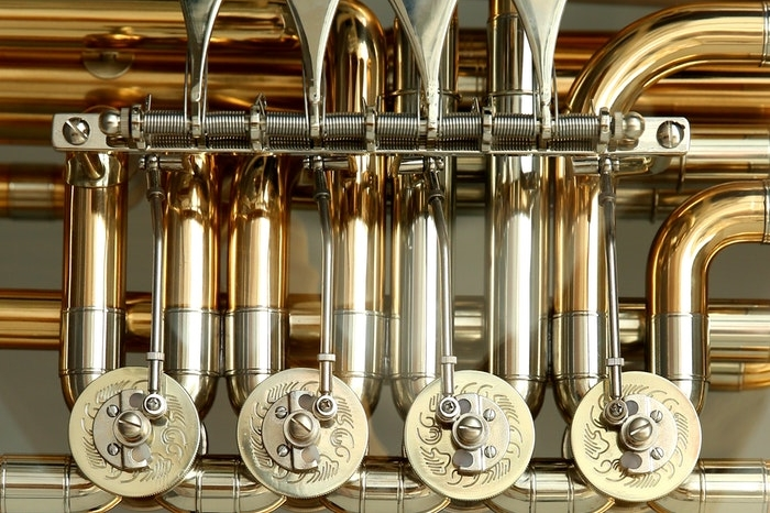 Close-up of the tuba valves
