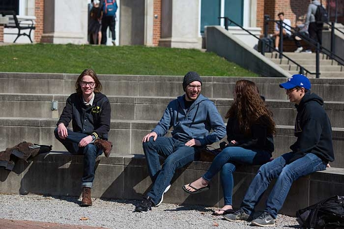 Students sitting in Kremer Amphitheatre