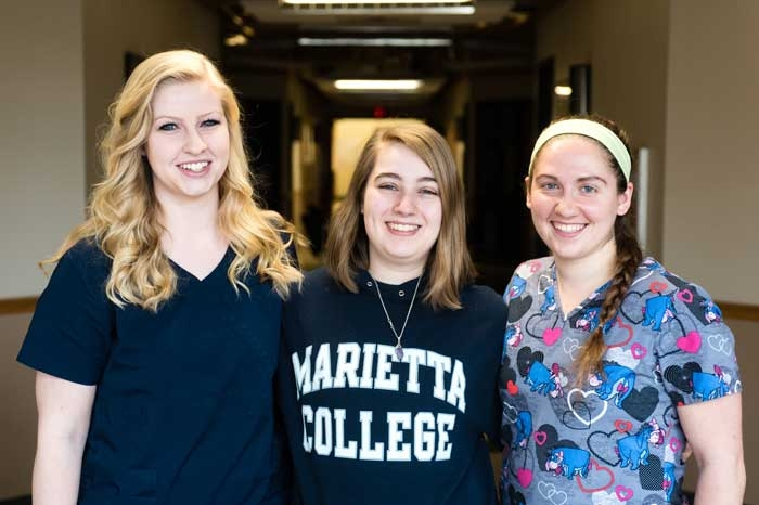 Ashley Payne, Megan Bache and Rachel Stahl in the Rickey Science Center