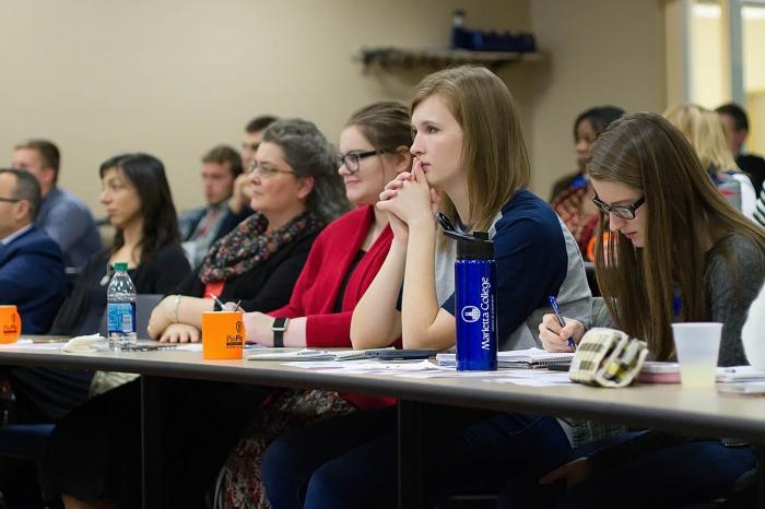 Marietta College students watch a PioPitch presentation