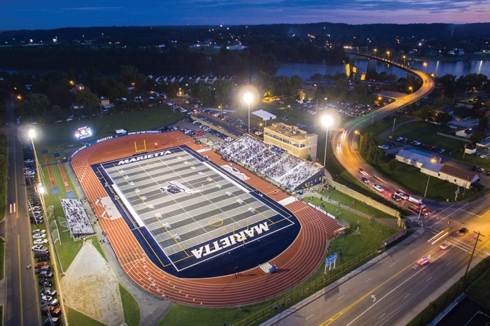 A drone shot from above a night game at Don Drumm Stadium