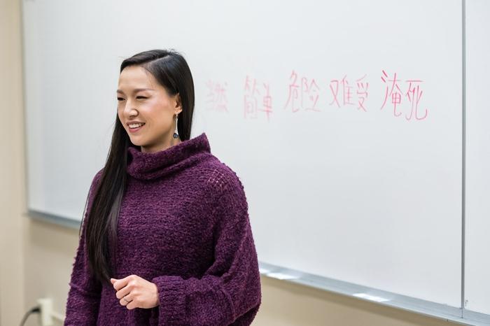 Professor Ni Zhang in her classroom
