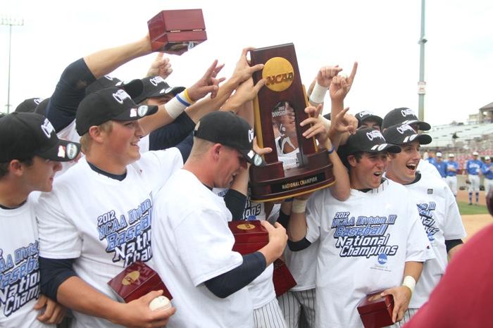 Baseball players celebrating championship