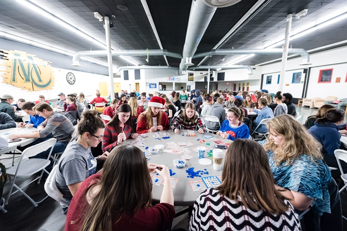 Students playing bingo in The Gathering Place