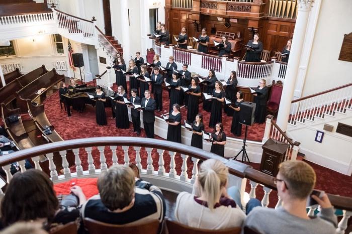 Choir singing at First Congregational Church