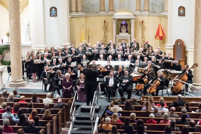 Messiah singers, musicians on stage