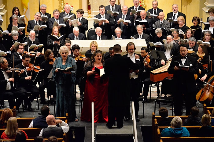 wide angle shot of people singing at Messiah performance