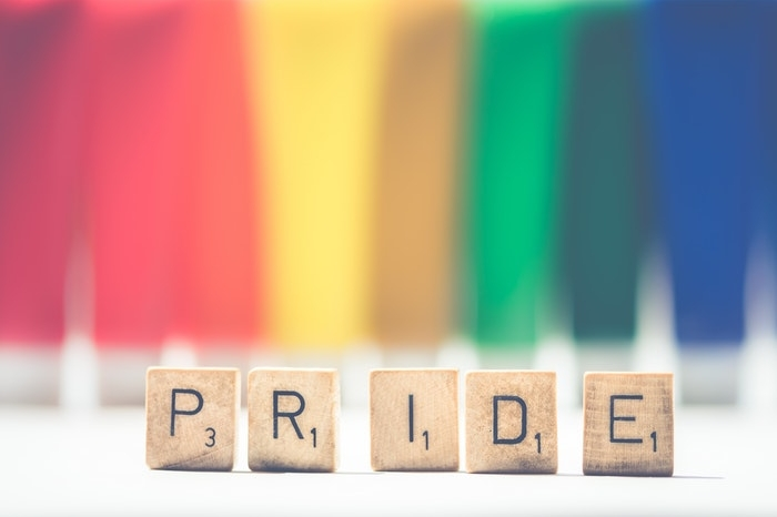 Pride spelled out in Scrabble letters