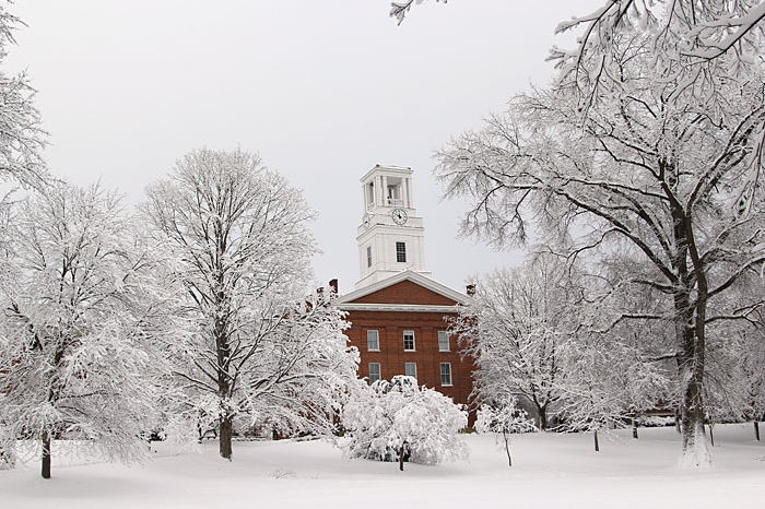 Erwin Hall in the snow