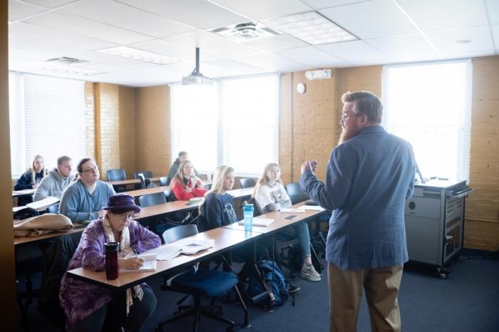 Psychology professor Michael Williams teaching