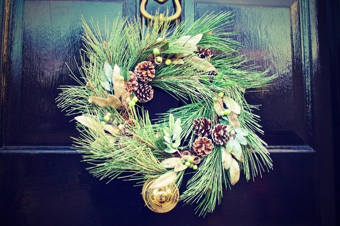 Christmas wreath on a black door