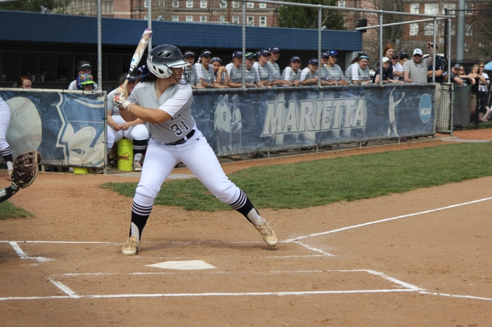 Marietta softball player batting