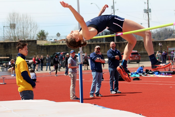 Laura Pullins clearing a height in the high jump