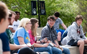 Students sitting in the Kremer Amphitheatre