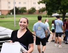 Female freshman on move-in day