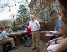 A Marietta College professor teaches outside