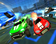 Cars racing in Rocket League