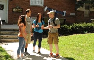 students meeting on marietta mall