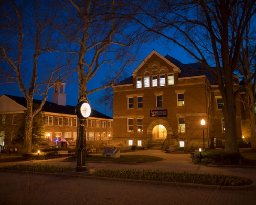 Andrews Hall at night