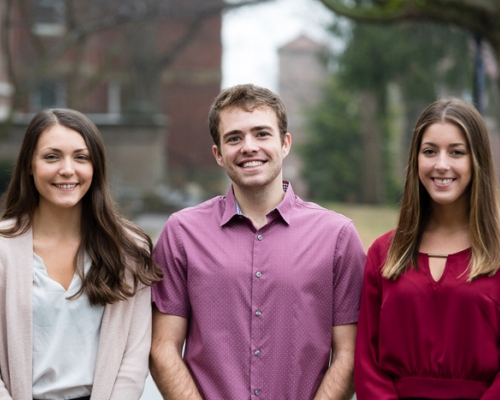 Marietta students Taryn Hicks, Alex Hogan and Abby Tornes on campus