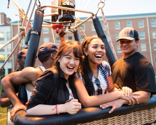 Students ride the hot air balloon at Doo Dah Day