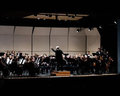 Marietta College band and wind ensemble performing at Peoples Bank Theatre