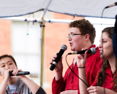 Members of Floodstage performing during the 2017 Brick Street Arts Bash