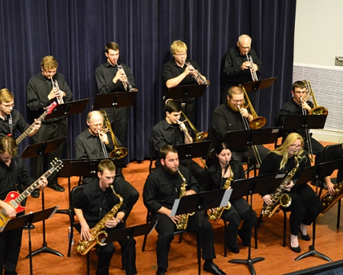 Jazz band performing at McDonough Auditorium
