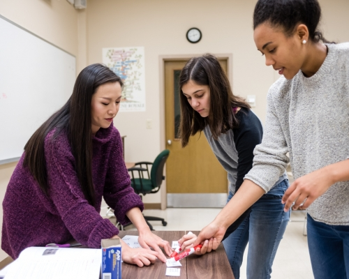 Two female students working with a faculty member