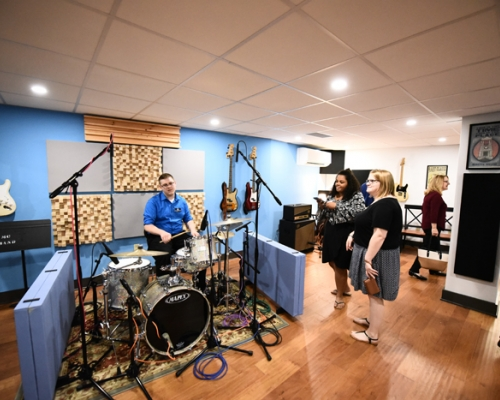 Students in a music therapy room