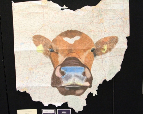 Cow drawn on a map of Ohio