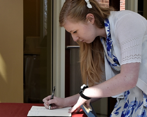 Alyssa Prince during the induction ceremony