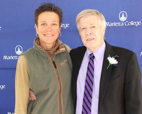 Former AD Debbie Lazorik with Bob Walsh at the Hall of Honor ceremony in 2013