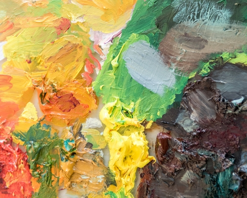 Detail of paint colors and textures