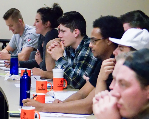 Students sit in the interactive PioPitch Session at Marietta College