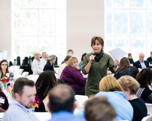 Jackie Khorassani of Marietta College speaks to a crowd at the 2017 Mid Ohio Valley Entrepreneurship Expo