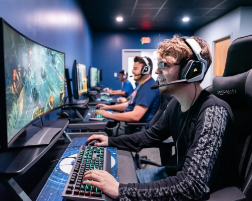 Marietta College eSports practice in the eSports Arena