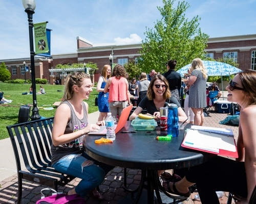 Students enjoy the outdoors on campus