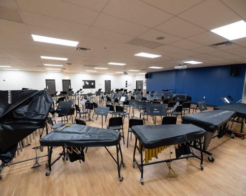Empty band rehearsal hall