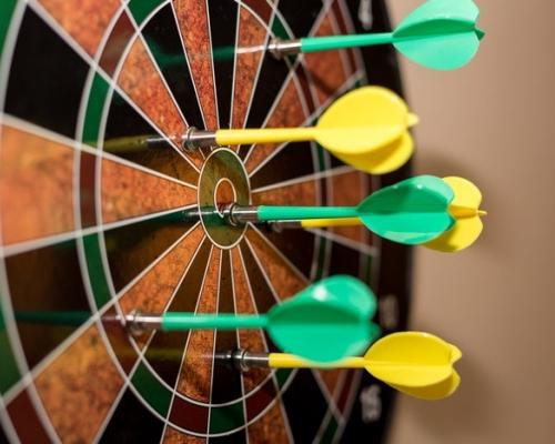 darts in a dart board