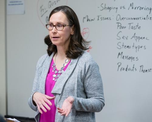 Lori Smith teaching an advertising course