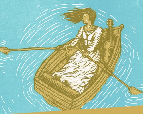 Illustration of a woman rowing a boat